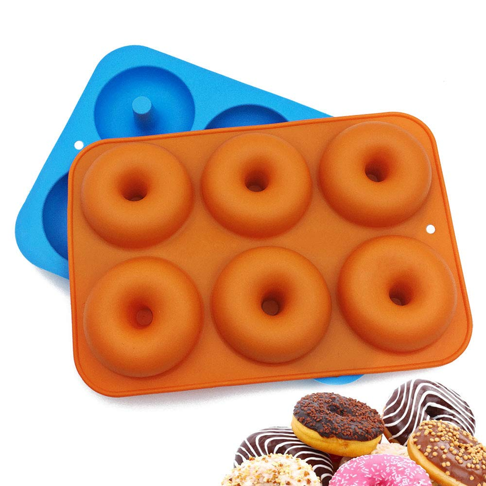 Freezer Safe Finegood 6 Cavity Reusable Cake Maker Cookie Tray For Kitchen Orange Doughnut Baking Pans Blue Dishwasher Red Rose Oven 3 Pieces Pumpkin Shaped Silicone Donut Molds Microwave Kitchen Dining Small