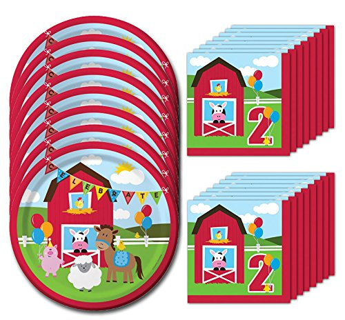 Farmhouse Fun Second Birthday Lunch Napkins & Plates Party Kit for 8 Fun Lunch Plates