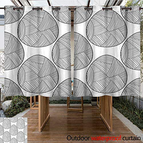 RenteriaDecor Outdoor Curtain for Patio Easter Eggs Black and White Seamless Pattern for Coloring Books Pages Vector W55 x L72
