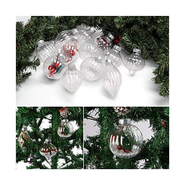 Palle di Natale Plastica (Set da 12) - Palline di Natale Trasparenti per Fai-da-Te con Filo, 3 Disegni x 4 Cad. per Decorazioni Natalizie, Addobbi per Feste di Compleanno, Addobbi Natalizi per Albero 5 spesavip
