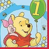 Winnie The Pooh 1st Birthday Party Napkins, 16ct