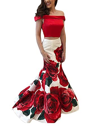 wildestdreamsbridal Red and White Two Piece Off The Shoulder Floral Print Prom Dresses 2018 Long Mermaid