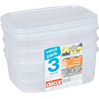 Décor 002457-006 Oblong Tell Fresh Food Storage Container, 1L, Pack of 3