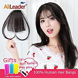 AliLeader Natural Real Human Hair Flat Bangs One Piece Clip in Fringe Hair Extensions Hairpieces with Side Temples(Air Bangs,Natural Color)