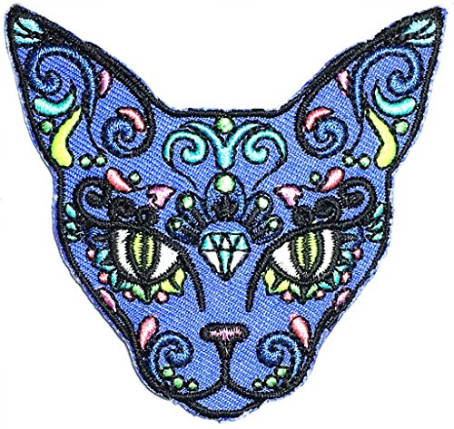 Head Cat Sugar Skull Day Of The Dead Evil Halloween Cartoon kids Symbol DIY iron on patch Iron-On Designer Patch Used For Gifts Crafts Jeans Clothing (Sugar Skull Halloween Diy)