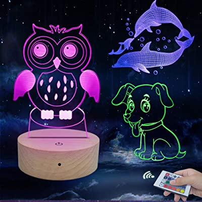 Caferria 3D Night Light for Kids Toys 3D Illusion Lamp 3 Pattern and 7 Color Change Decor Lamp with Touch & Remote Control for Boys Girls Gift Birthday Present: Home & Kitchen