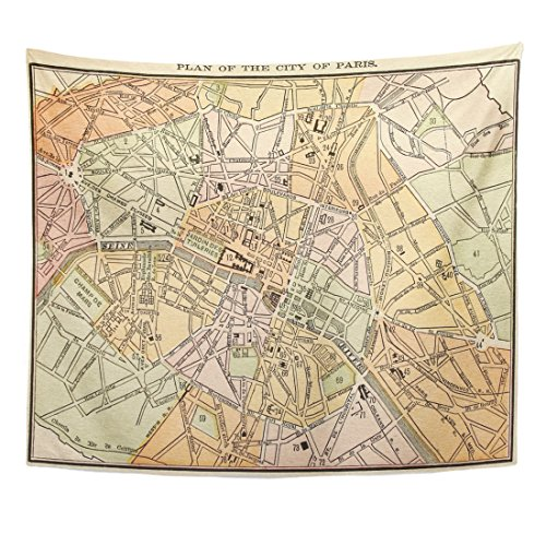 Old Detailed Colored Antique Map - VaryHome Tapestry Vintage Original Paris City Map Colored Dated 1889 Old Street Home Decor Wall Hanging for Living Room Bedroom Dorm 50x60 Inches