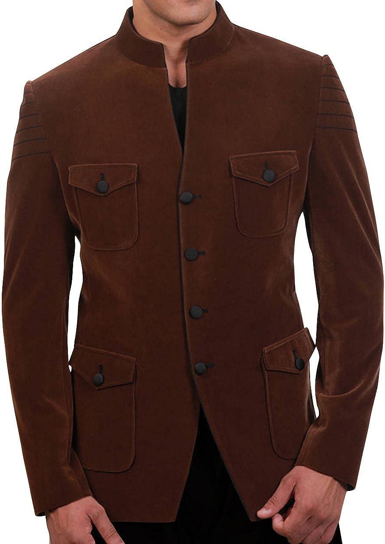 Bagtesh Fashion Mens Tailor Made Handsome Brown Velvet Blazer Coat Jacket MB106