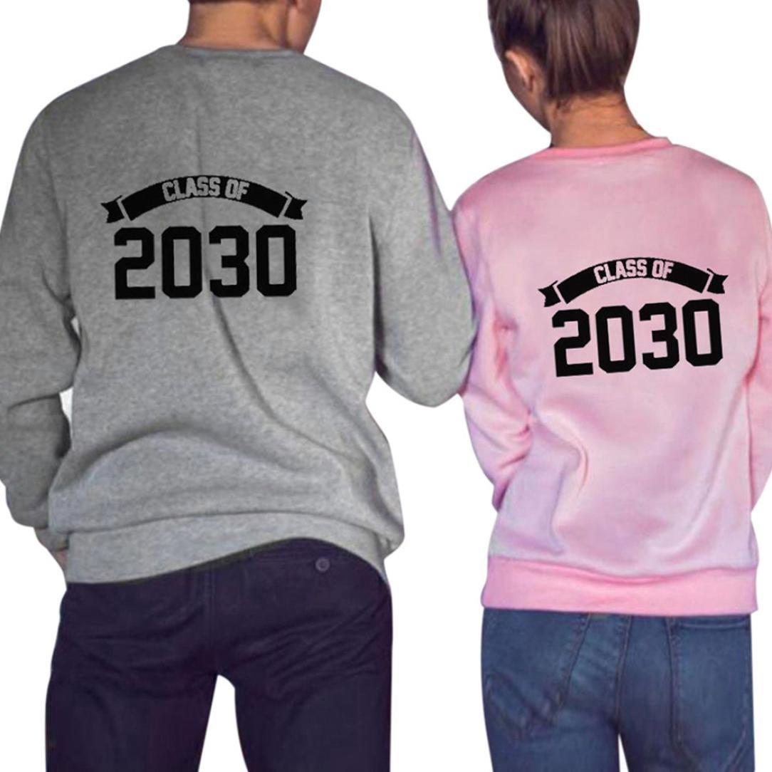 ITISME Damen StrickjackeWomen Class of 2030 Letter Print Long Sleeve T-Shirt Top Blouse Couple ShirtDicke Feinstrickjacke Kurze Beige Winter SchöNe Strickjanker Leichte Kapuzen Sommer Braun Sunset