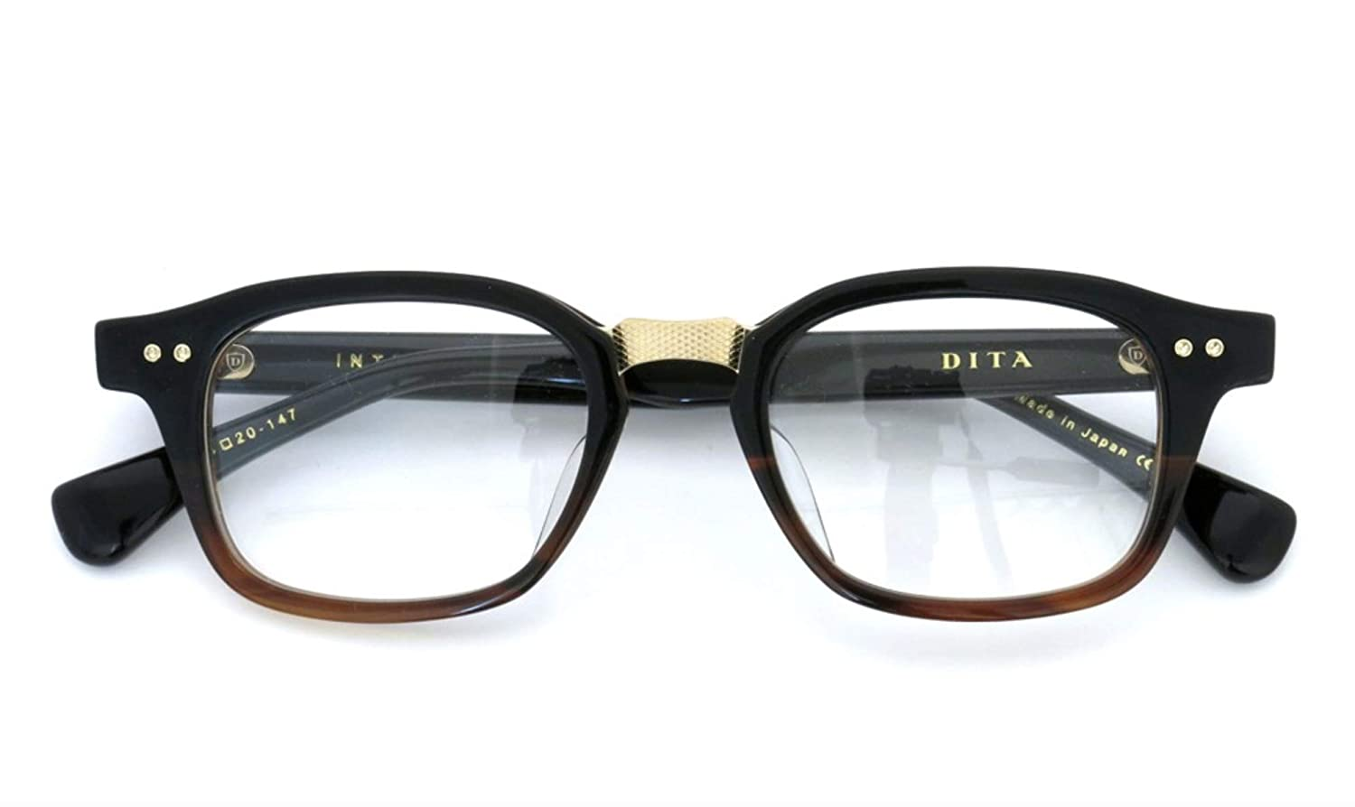 fc2738d70d5f Amazon.com  Dita INTELLIGENTE DRX-2050-C-BLK-TRT-GLD-48 Eyeglasses Black to  Tortoise Fade - Antique 12K Gold 48mm  Clothing