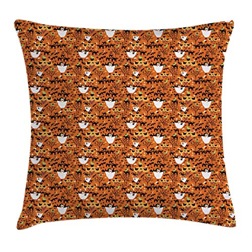 NBTJZT Halloween Throw Pillow Cushion Cover, Spooky Cartoon Pattern of Ghost Cats Bats Spiders and Trees,Pillowcase 18X18 Inch, Burnt Orange and Multicolor ()