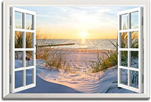 Window Frame Style Beach Sunset Nature Picture Canvas Wall Art Sunlight Ocean Landscape Prints Living Room Office Decor Posters Can be Hung - 36