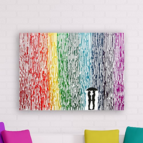 Lesbian Wedding Gift 22x28 Rainbow Painting Gay Pride Melted Crayon Art