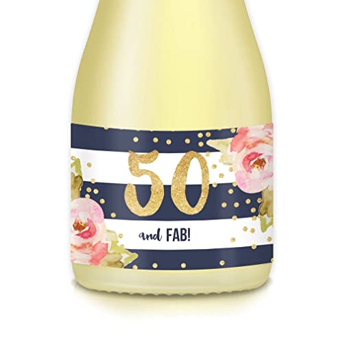 Womens 50th BIRTHDAY Party Ideas Mini Champagne Wine Bottle Decals Womans FIFTIETH 20 Labels 50 And FAB Celebrate Mom Wife Sister Aunt Lady Boss