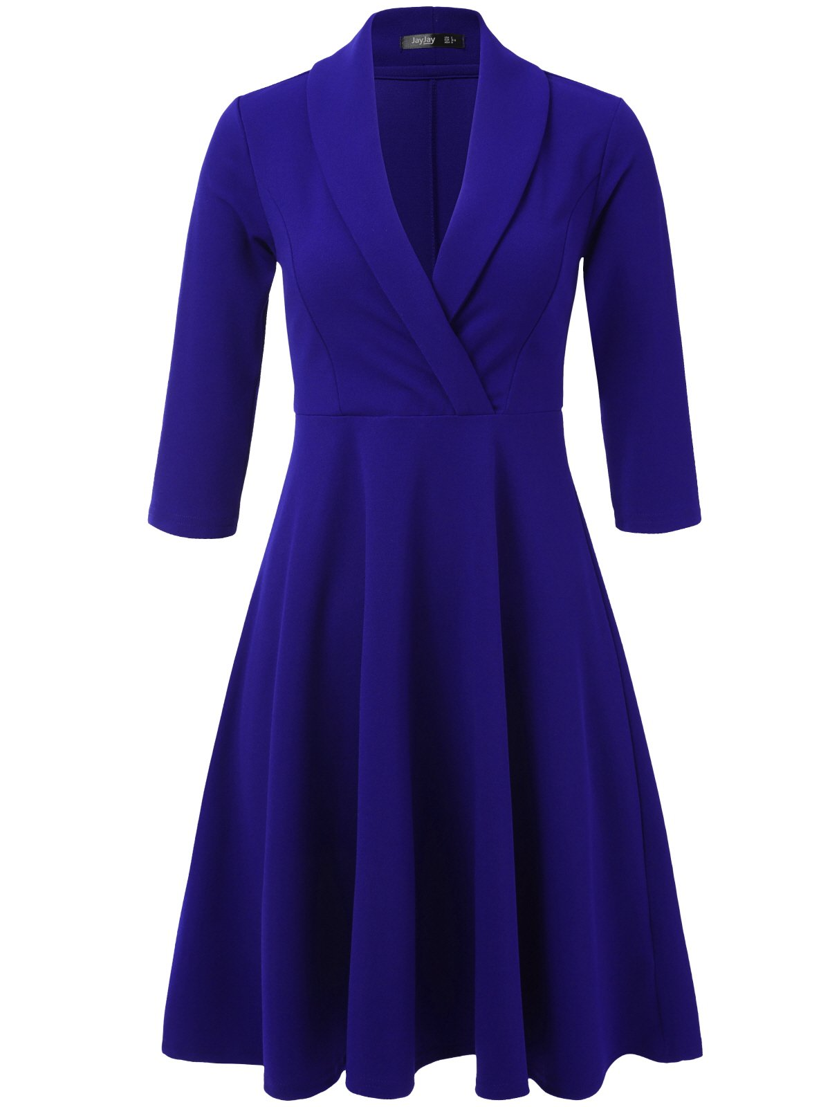 JayJay Women 3/4 Sleeve Wear to Work Lapel Party Fit and Flare Faux Wrap Dress,RoyalBlue,S