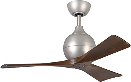 Matthews IR3-BN-WA-42 Irene 42 Outdoor Ceiling Fan with Remote Wall Control, 3 Wood Blades, Brushed Nickel