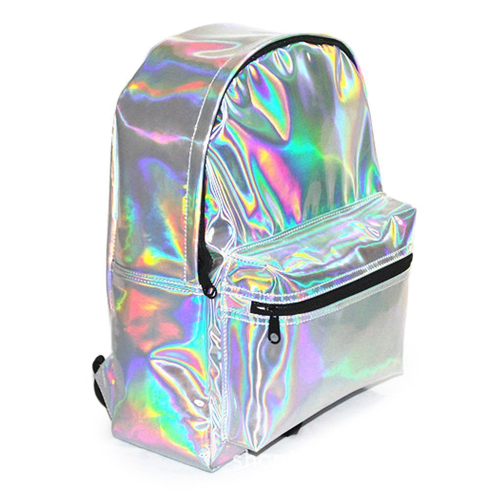 Leisial School Backpack Shoulder Bag Casual Daypacks Pu Leather Holographic Glitter Faux Backpack Fashion Girl Daypacks(Silver) L82YVZO2DJ3857130424UZ8