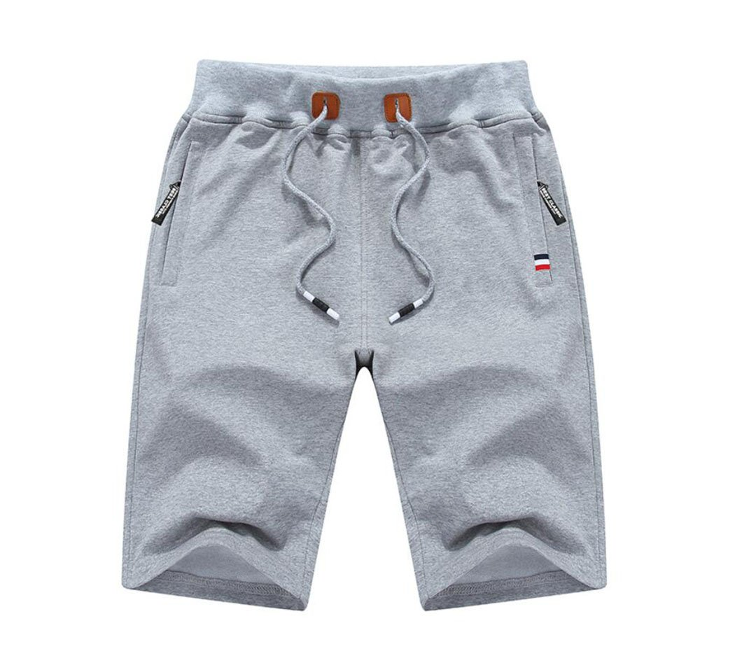 Amoystyle Men's Cotton Classic Fit Drawstring Casual Shorts Light Gray Asian 5XL