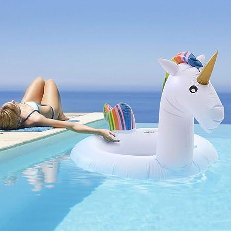 GEOPONICS 68.9x47.2inch Anillo Sing Unicornio Verano Flotador Juguete para Adultos Balsa Sing Herramientas
