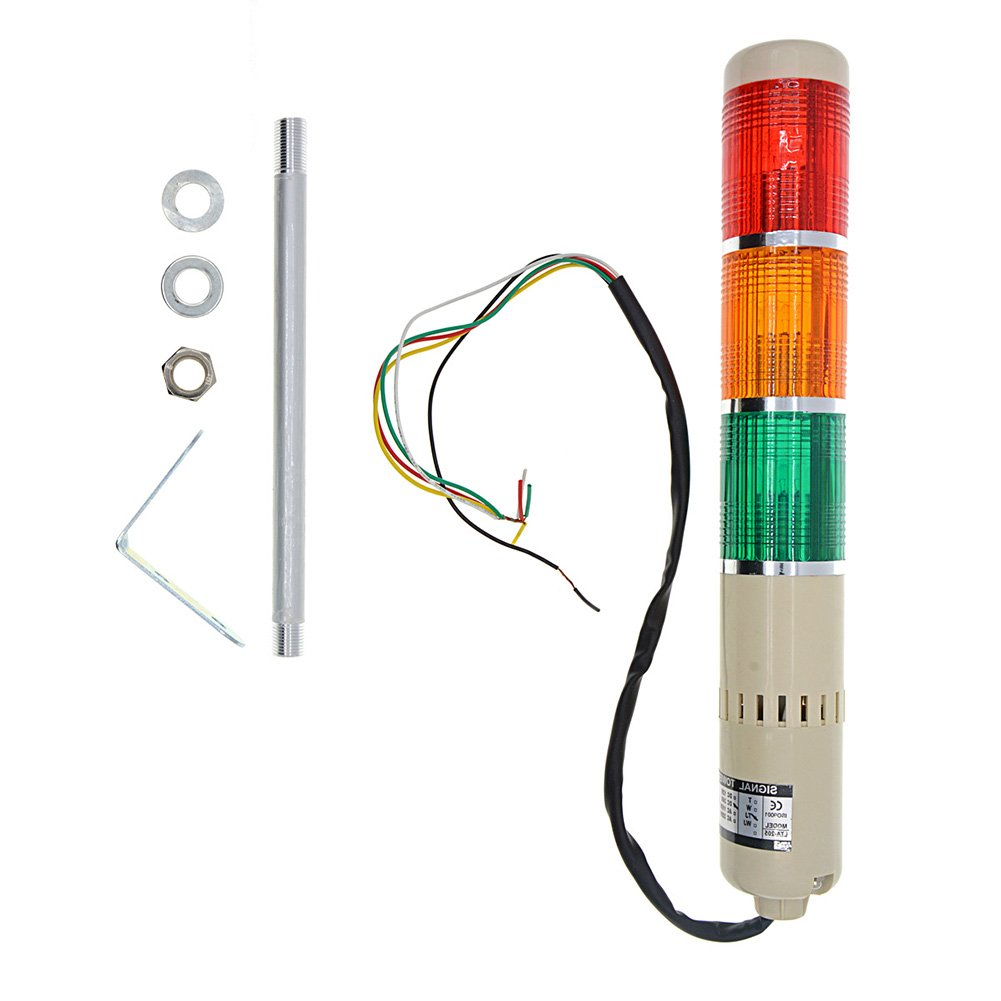 YXQ DC 24V Industrial Signal Warning Red Green Yellow Light Tower Lamp Stack Alarm with Buzzer, 5W Bulb by YXQ