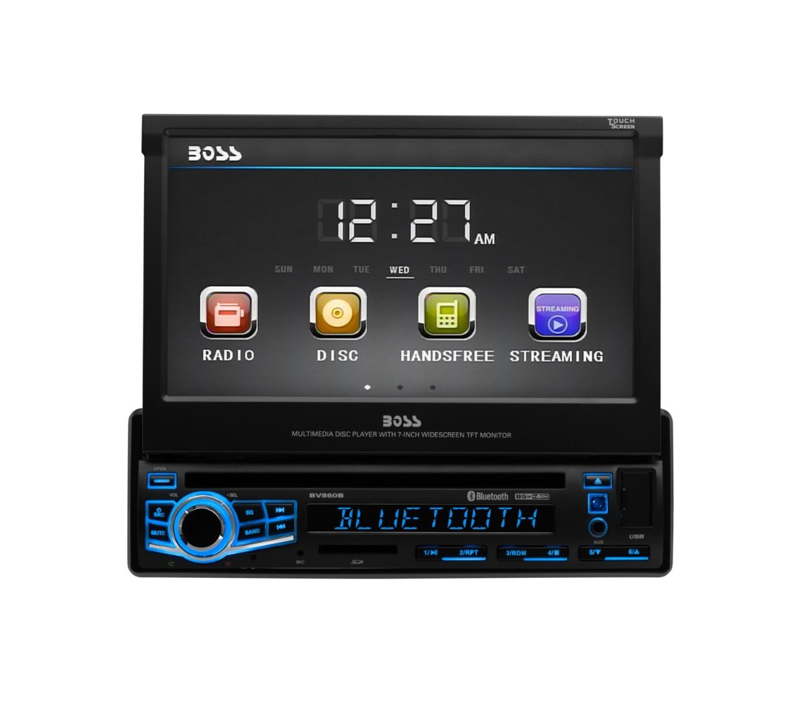 BOSS Audio Elite BV860B Car DVD Player - Single Din, Bluetooth Audio & Hands-Free Calling, Built-in Microphone, DVD/CD/MP3/USB/SD Aux-in, AM/FM Radio Receiver, 7'' Digital LCD, Multi-color Illumination