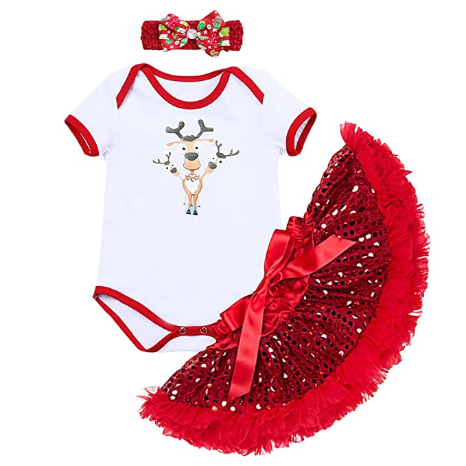 623303e3558 Baby Girls 1st Christmas Santa Costume Outfits Xmas Newborn Infant Romper  Bodysuit Tutu Skirt 3PCs Headband