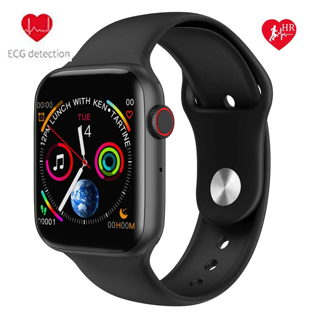 Byoung Fitness Tracker ECG Heart Rate Monitor,1.54'' Color Screen Bluetooth Call Smart Watch with Camera Remote Music Player IP67 Waterproof Activity Tracker Pedometer Stopwatch for iOS Andriod,Black