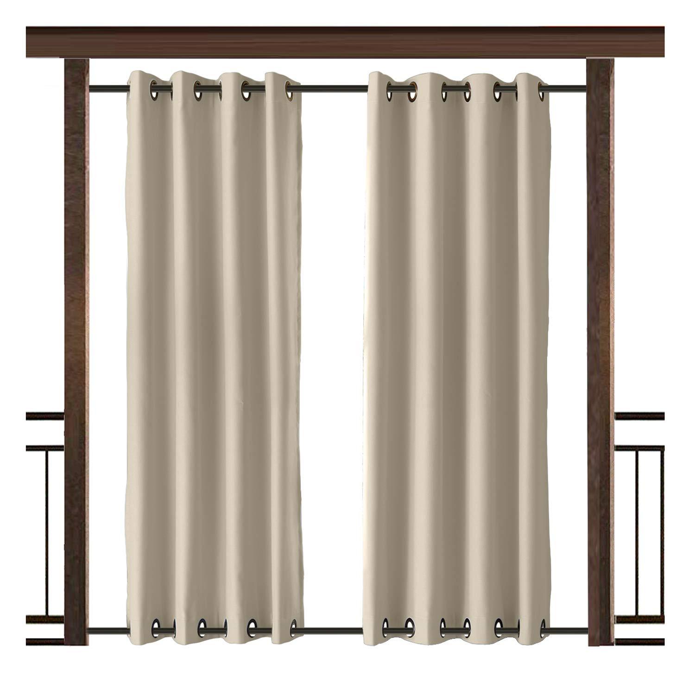 TWOPAGES Outdoor Curtain Antique Bronze Grommet Waterproof Drape(Both Top and Bottom) Beige 150'' W x 84'' L (1 Panel)