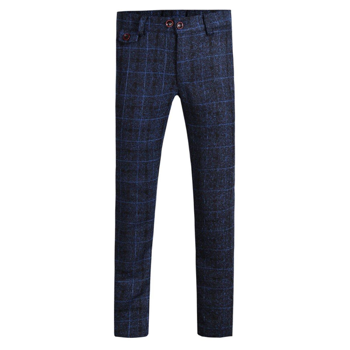 Cloudstyle Mens Pants Slim Fit Flat Front Plaid Stripe Comfort Suit Pant Dress Trousers,Dark Blue,Large(34W נ30L)