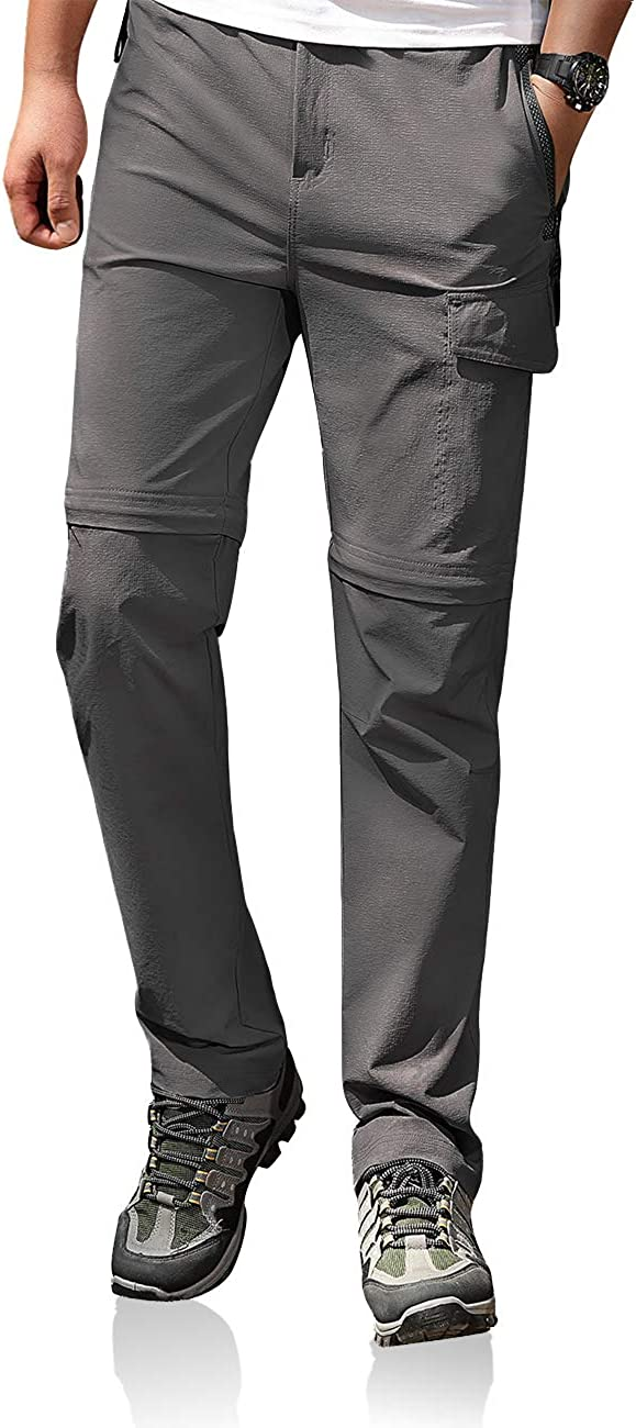 Mens Hiking Convertible Pants Stretch Lightweight Quick Dry Waterproof Breathable