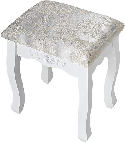 Vanity Stool, Makeup Bench Padded Cushioned Chair, Capacity 330LBs, 17.7inch Tall Dressing Makeup Stool, in Bedroom, Bathroom, Simple Assembly, White