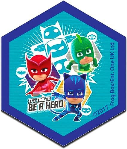 PJ Masks Héroes en pijamas Its time to be a hero 1 Disney - Parches termoadhesivos bordados aplique para ropa, tamaño: 6,2 x 7,3 cm