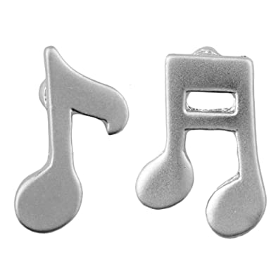 Stud-earrings Musical Orchestra (Notes In Silver Finish ...
