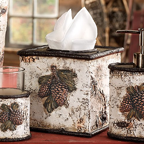 (BLACK FOREST DECOR Pinecone & Birch Rustic Tissue Box - Wilderness Bath Accessories)