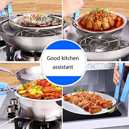 Stainless Steel Pan Gripper Multifunctional Kitchen Tool (blue)