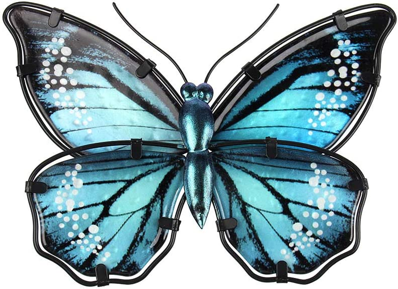 Liffy Metal Butterfly Outdoor Wall Decor Garden Hanging Art Blue Fence Decorations for Bedroom, Patio or Shed