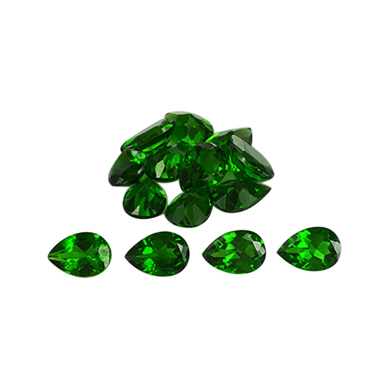 Fine Faceted Top Grade Green Chrome Diopside 7x5x3.2 mm Pear Shape Wholesale Jewelry Gemstone Lot