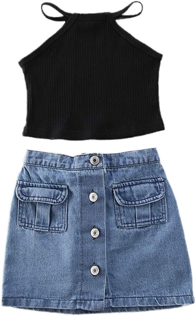 2PCS Toddler Kids Baby Girls Tops T-shirt Denim Mini Skirt Dress Outfit Clothes
