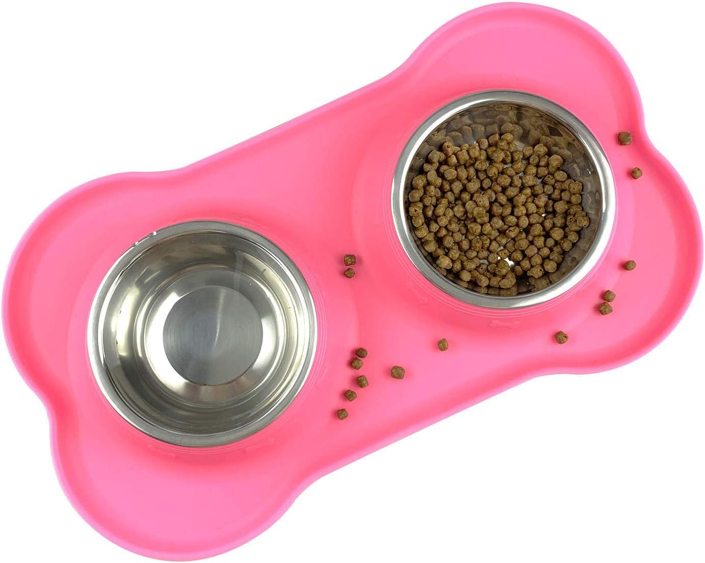 Comedero para Perros y Gato Acero Inoxidable 2x200ML,2 Cuencos Comedero para Mascotas con Base de Silicona Antideslizante(rosa)