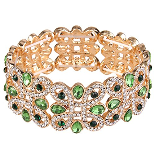 EVER FAITH Women's Crystal Elegant Wedding Knot Tear Drop Elastic Stretch Bracelet Green Gold-Tone
