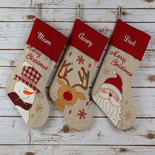 """Wewill 17"""" PERSONALIZED Linen Christmas Stockings Custom Name Embroidered set of 3"""