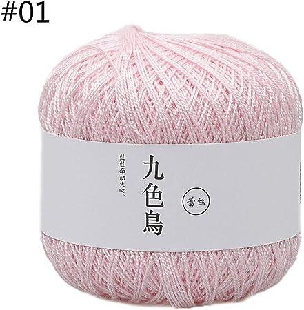 Qiman – 50 g, 1 pieza, hilo de algodón de seda para ganchillo, para bebé, tejido a mano, hilo suave y cálido para tejer accesorios 1: Amazon.es: Hogar