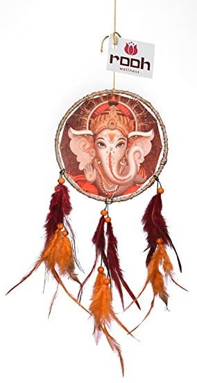 Rooh Wellness Rooh Dream Catcher Canvas Ganesha Wool Windchime (14 inch, Orange, Brown)