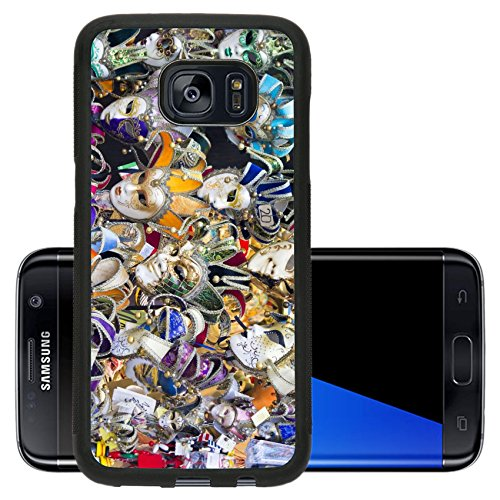 Luxlady Premium Samsung Galaxy S7 Edge Aluminum Backplate Bumper Snap Case IMAGE ID: 34132254 Showcase with colorful souvenir masks in (Authentic Joker Costume)