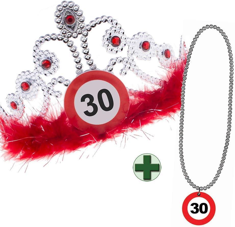 Karneval-Klamotten Krone Geburtstag 30 Geburtstagskrone mit Geburtstags-Halskette 30 Jahre