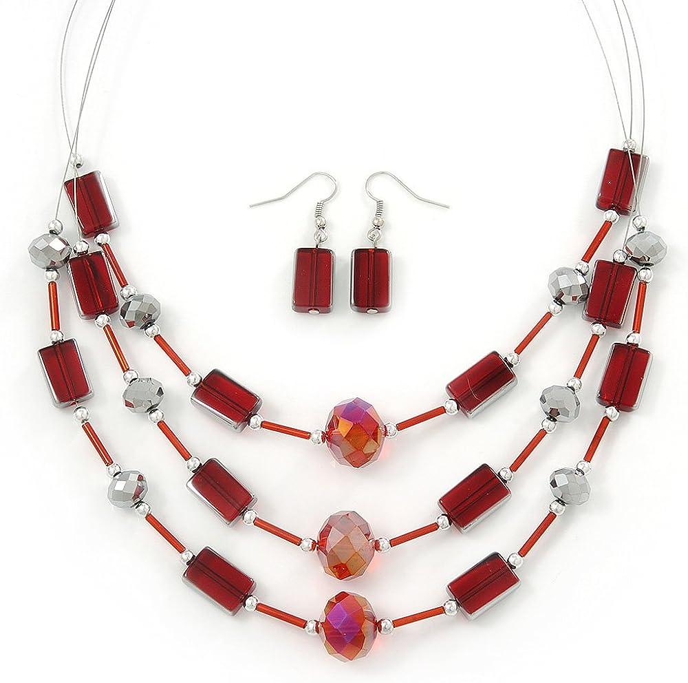 Avalaya Ensemble de collier et boucles doreilles pendantes en fil de verre avec 3 fils de perles de verre argent/ées 44 cm de longueur//extension de 5 cm