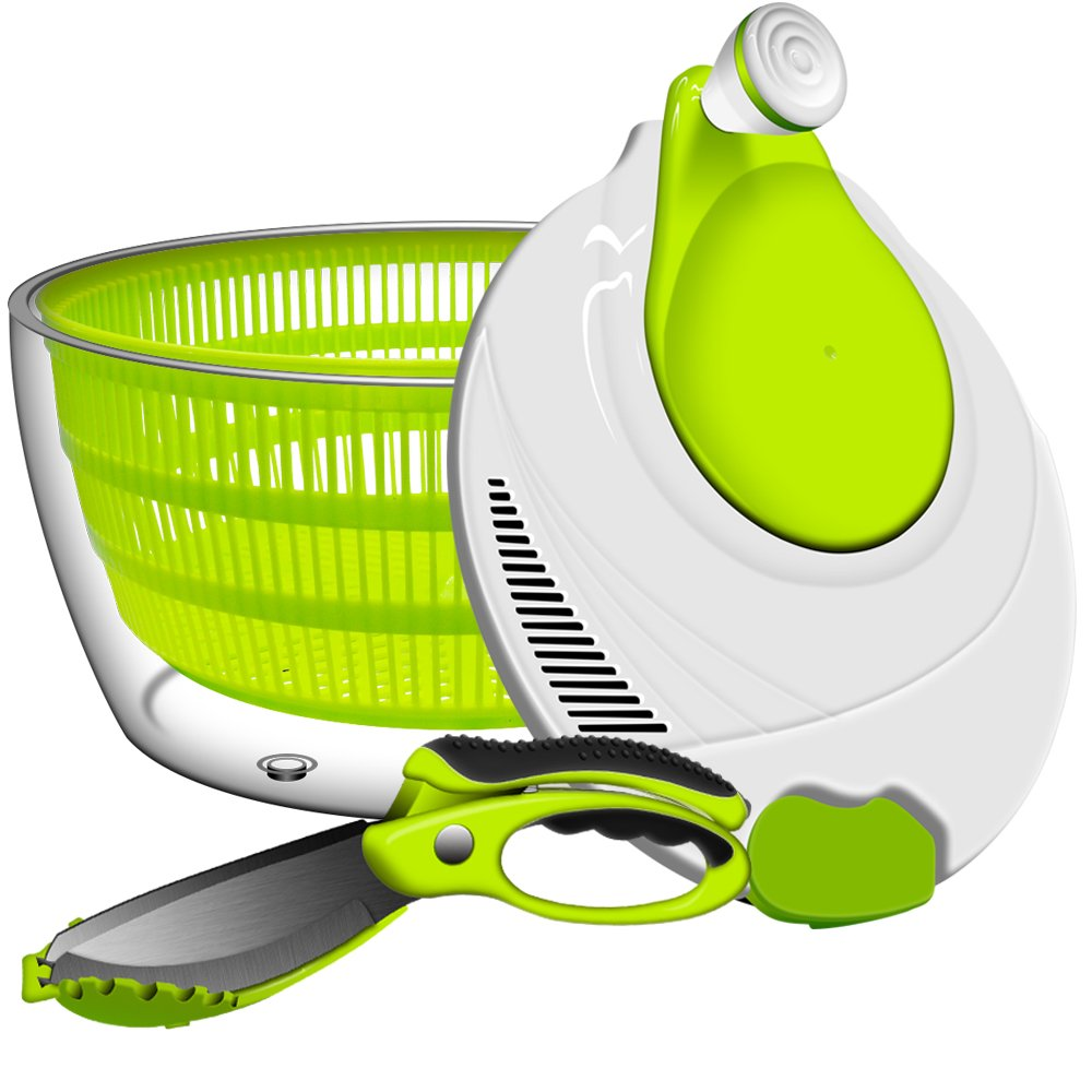 Salad Spinner, ANKO BPA Free Certified 4.2 Quart Capacity Vegetable Dryer Strainer with Vegetable Scissors, Ease for Tastier Salads and Faster Food Prep (1)