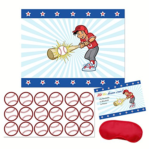 Hit the Home Run! - Boy Baseball Player Party Sticker Game - Kids baseball birthday party decoration and supplies - Pin the Baseball on the bat