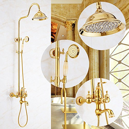 Gyps Faucet Waterfall for Cold Water Tap and Hot Tap Bath Shower Kit gold Green Jade Shower in Marble Taps Copper Faucets Full of Water Mixing Valve