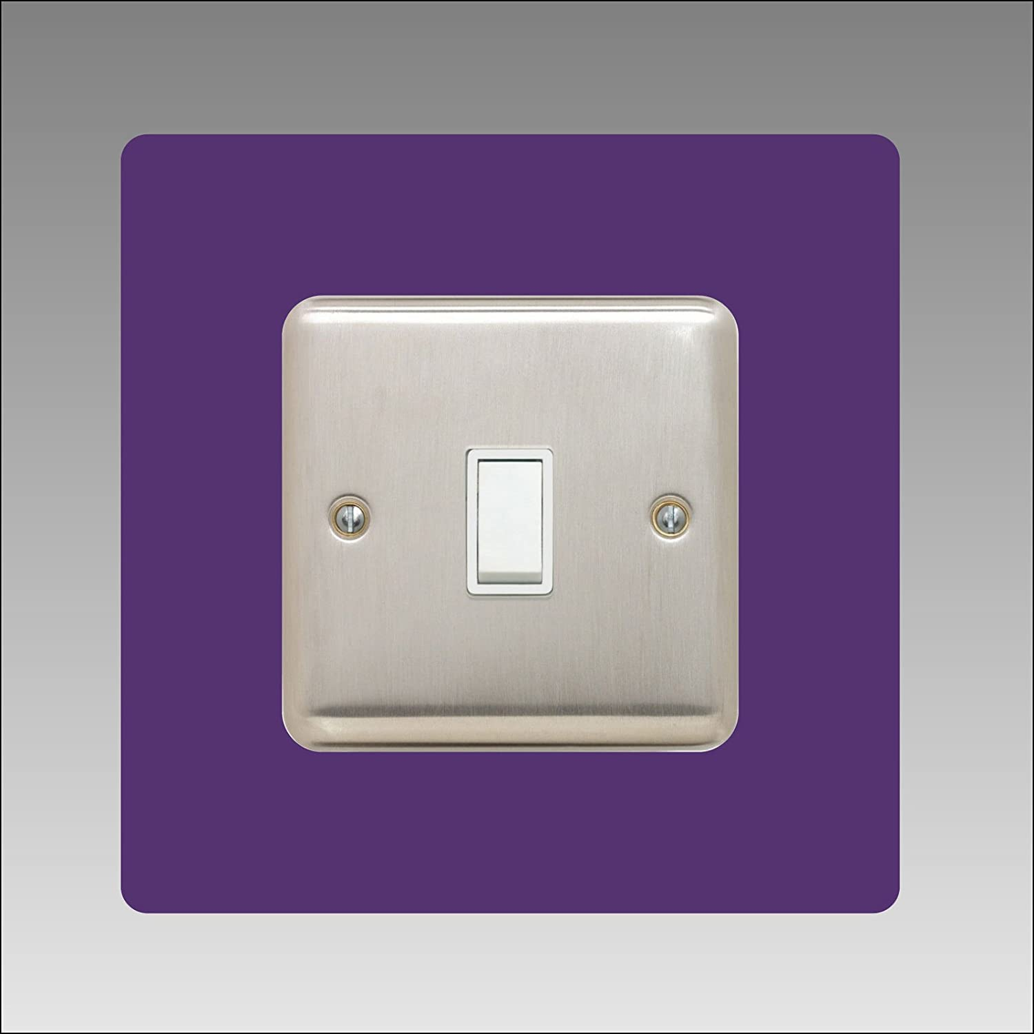 plug square font colour:pink single LIGHT SWITCH SURROUND acrylic back panel or finger plate